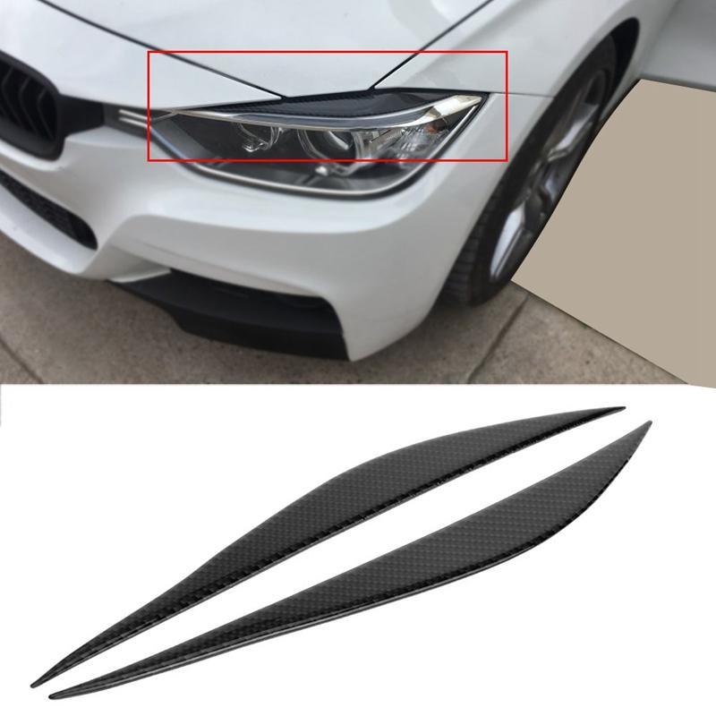 Carbon Fiber Car Headlight Eyelids Decal Sticker For 12-17 BMW 3 Series F30 320i