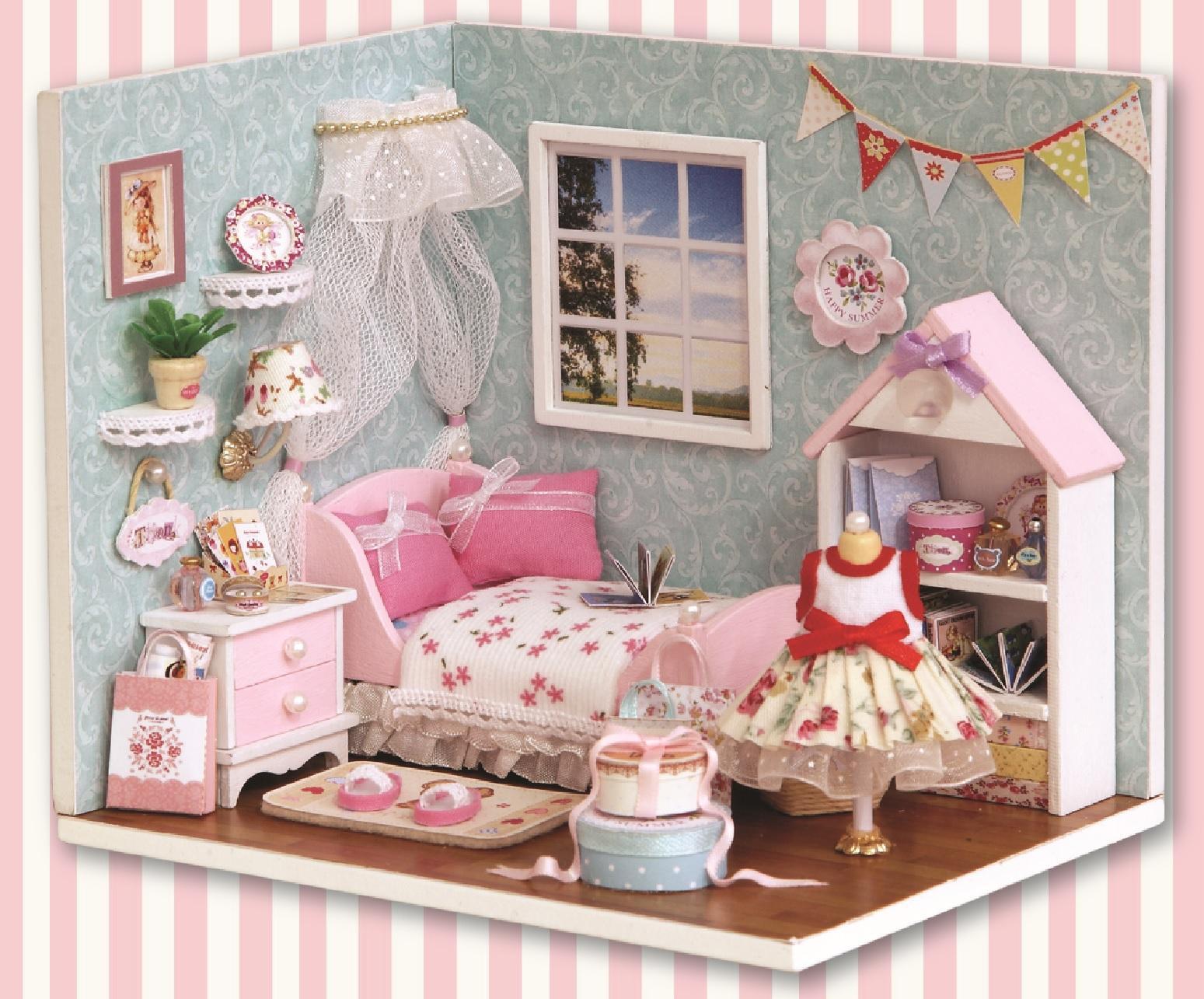 DIY Miniature Happy Pink Bedroom Dollhouse