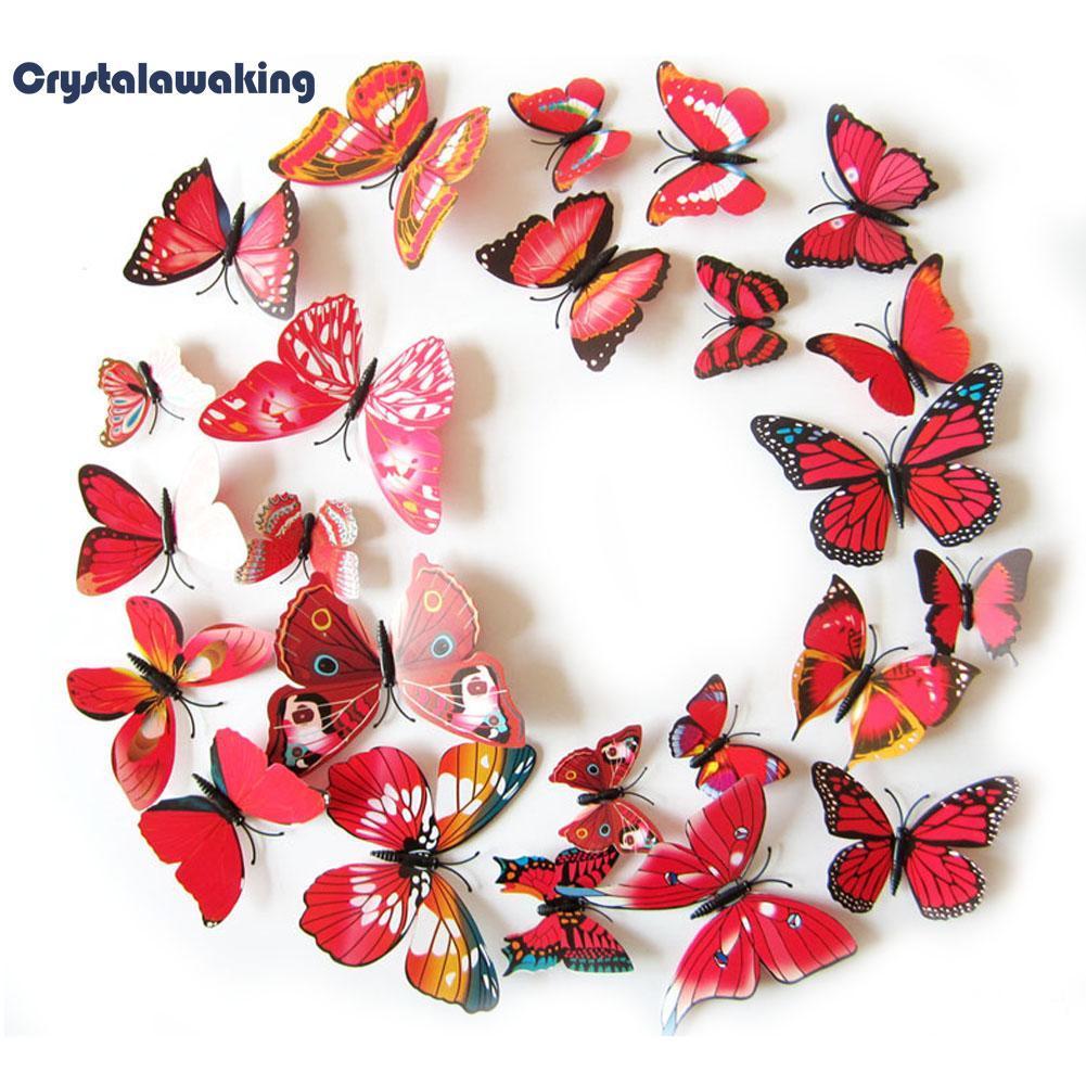 9c04cfac3 12PCS 3D PVC Magnet Butterflies DIY Wall Sticker Home Decor Purplish Red(11  MAY Flash