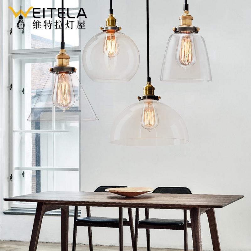 Simple Northern Europe American Village Glass Chandelier Vintage Industrial Wind Meal Living Room Library Bedroom Bar Loft Light