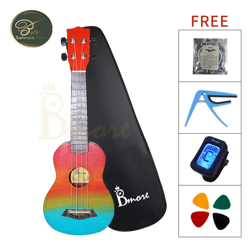 Bmore Mahogany 21inch Handcraft Ukulele w/ Free Accessories Gift Limited  Rainbow Color