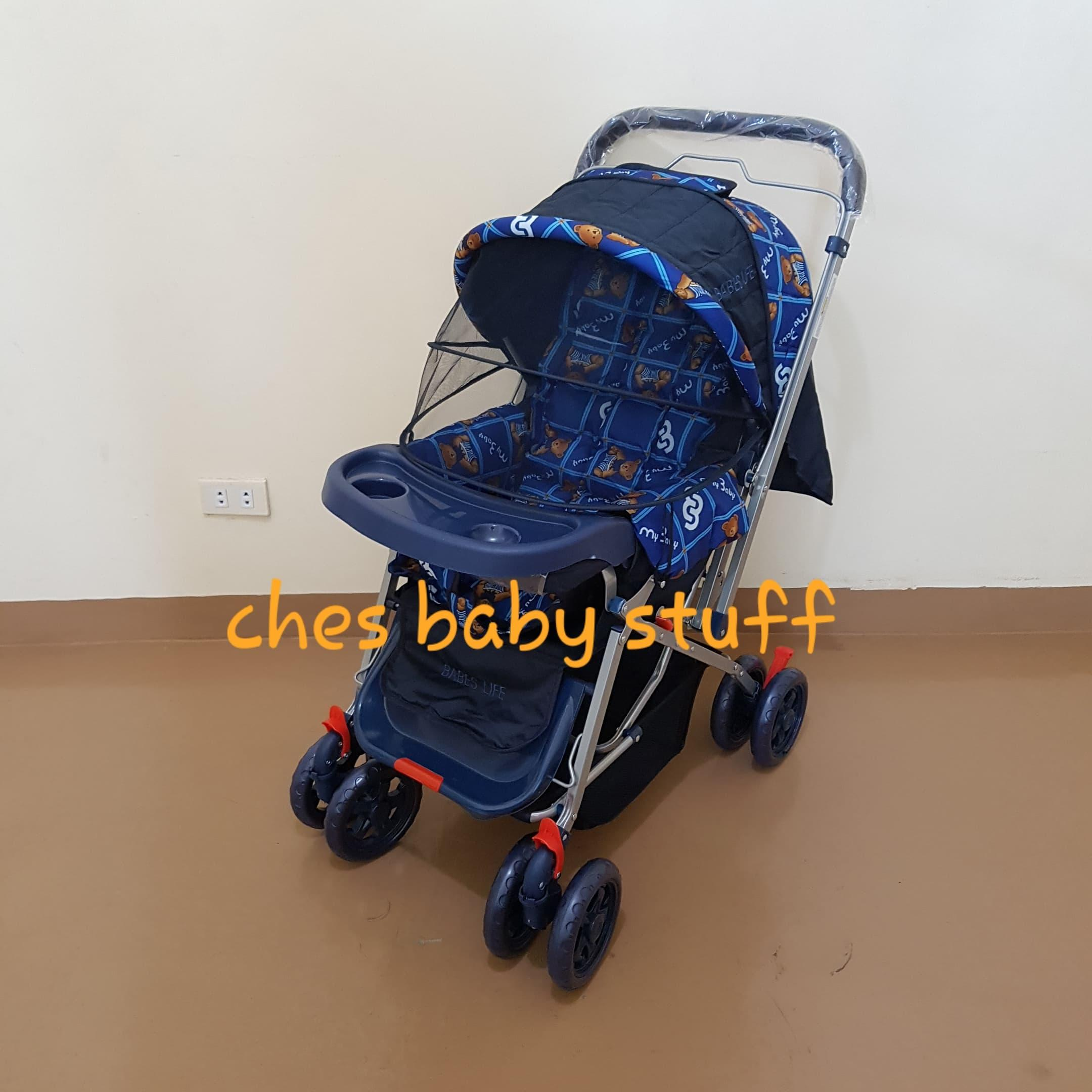 Babes Life Reclining Stroller Reversible Handle With Mosquito Net (blue) By Tinny Bunny.