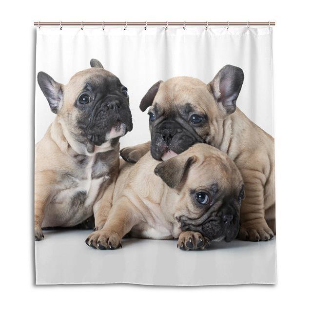 Lovely French Bulldog Shower Curtain Waterproof Fabric Bath 12 Hooks Decor