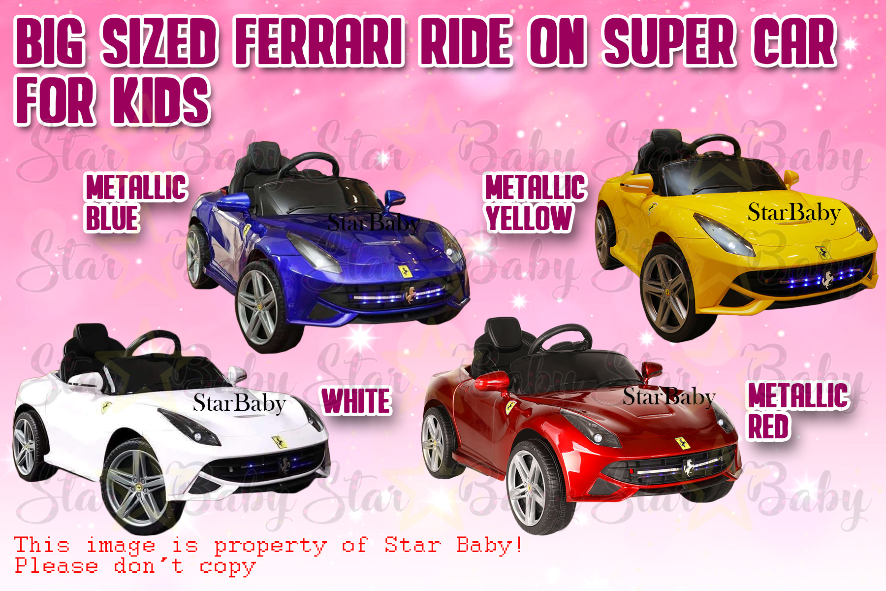 Star Baby Remote Control Big Ferrari Ride On Car For Kids Rechargeable Toy Lazada Ph