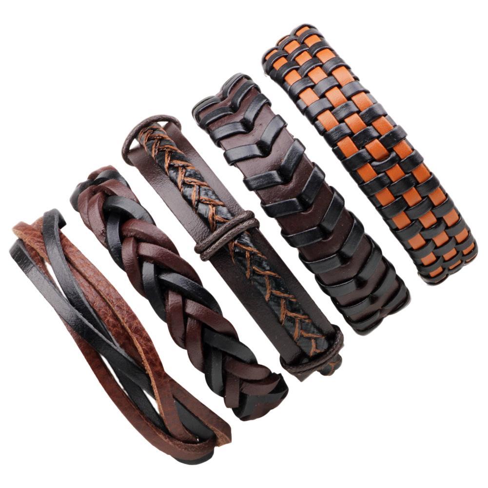 6Pcs/Set Vintage Leather Bracelets For Men Punk Bible Leather Bangle Male Wristband Wrap