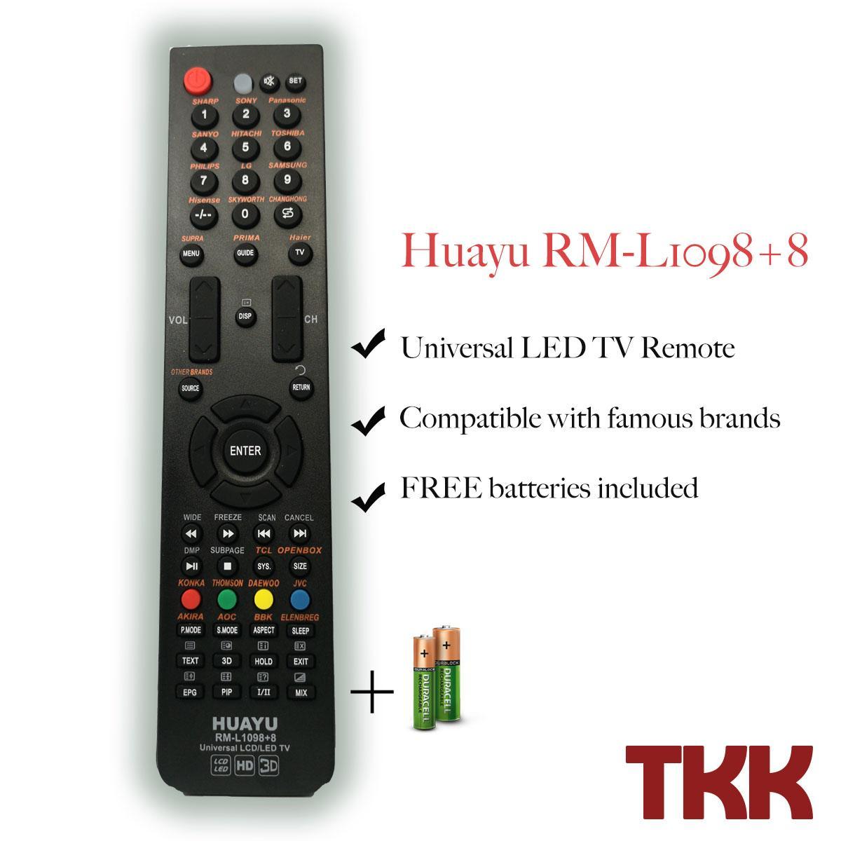 Huayu Rm-L1098+8 Universal Led/lcd Remote Control By Tkk Trading.