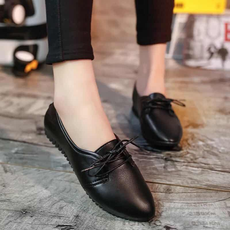 3c28f4b99f5 white black korean fashion leather shoes women girl Flats Girl Fashion  College Footwear
