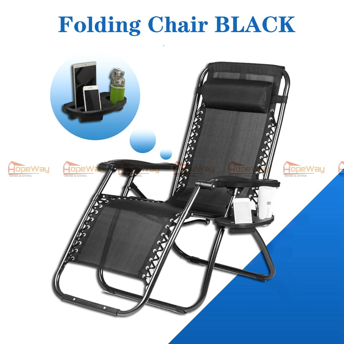 Hopeway Foldable Zero Gravity Lounge Reclining Chair With Adjustable Headrest For Home And Office Napping Patio Garden Camping Beach Black
