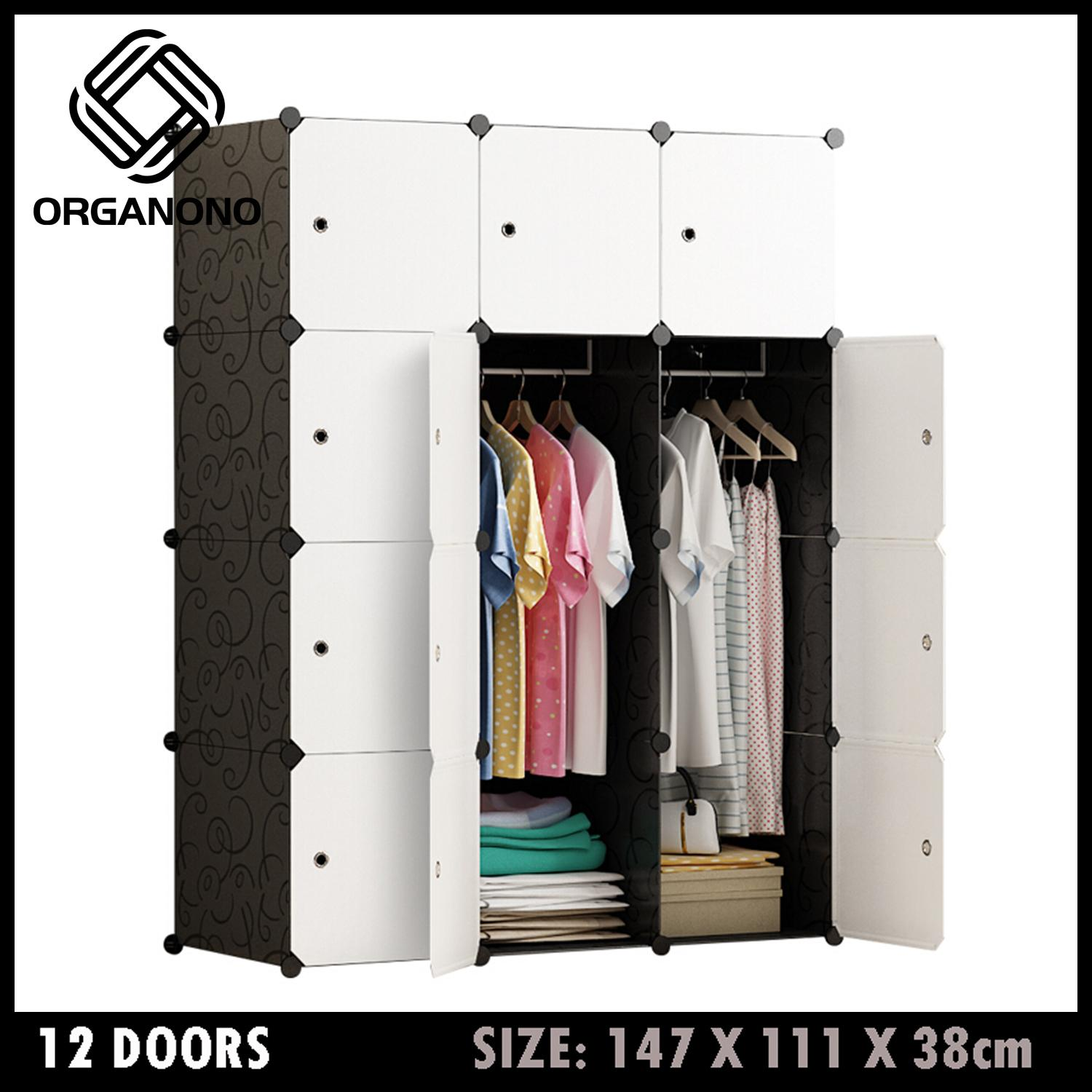 3906853bc Organono Screwless 12 Doors cubes DIY Storage Clothes Cabinet Wardrobe  Space Saver Stackable Organizer with Dress