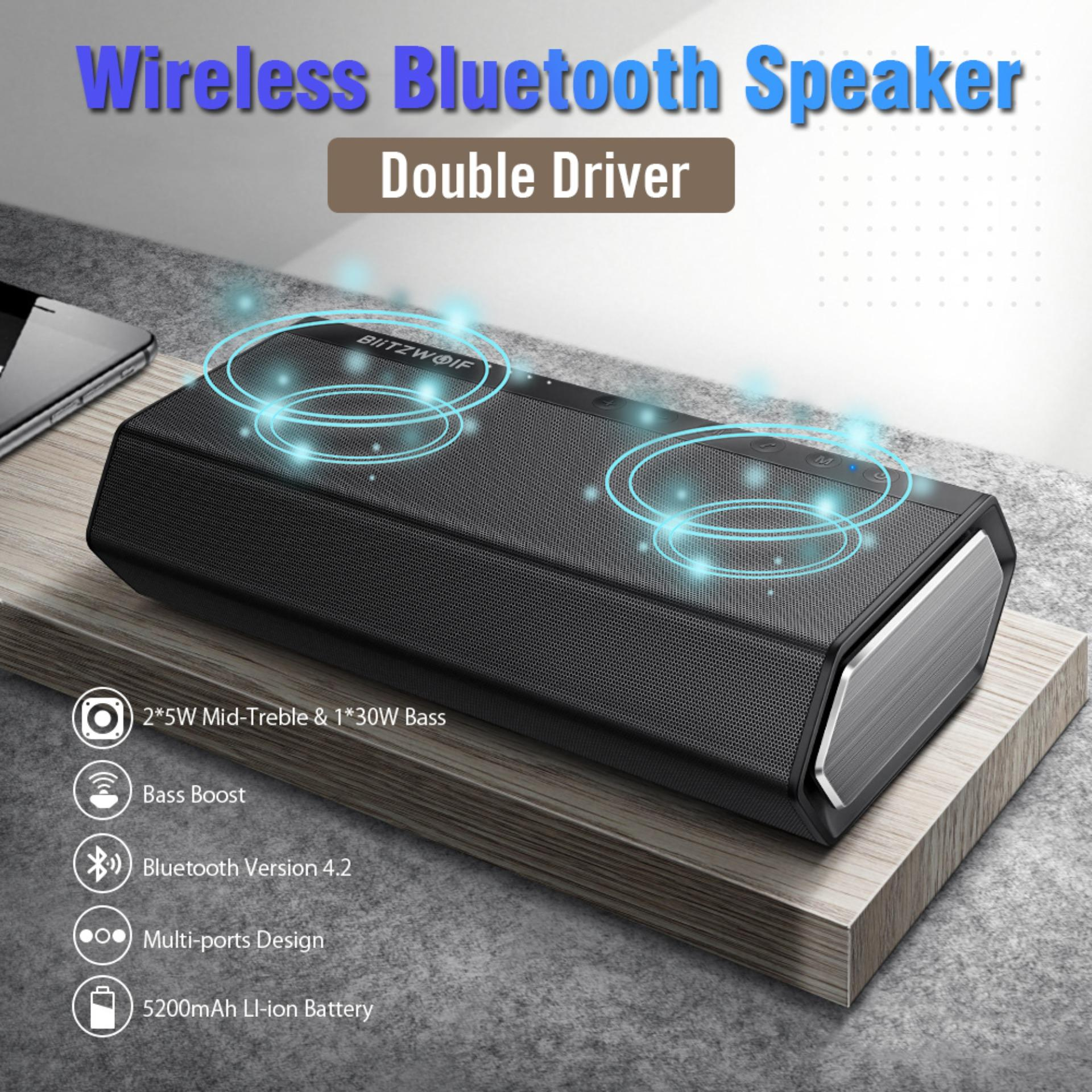 【Free Shipping + Super Deal + Limited Offer】BlitzWolf BW-AS2 40W 5200mAh  Double Driver Wireless bluetooth Speaker 30W Strengthened Upward Bass