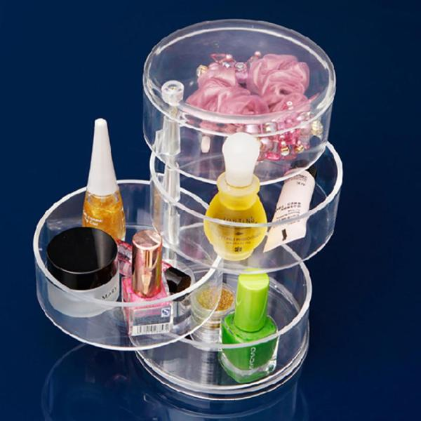Outop Multifunctional 4 Layers Transparent Rotating Storage Box for Jewelry Cosmetics Style:Transparent