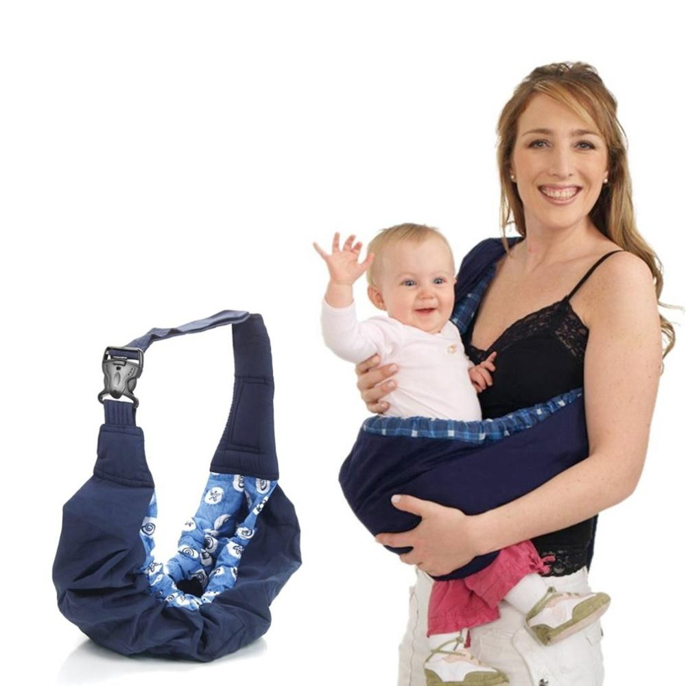 Newborn Baby Infant Toddler Cradle Pouch Ring Sling Carrier Kid Wrap Bag Blue Pattern Edge