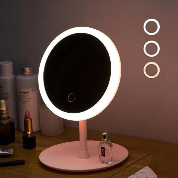 Gương Trang Điểm Tròn Để Bàn Có Đèn Led Cảm Ứng 3 Chế Độ Ánh Sáng Sạc Điện USB - Gương Thông Minh Có Đèn Cảm Ứng Siêu Lung Linh Magic Makeup Mirror with Sensor Led