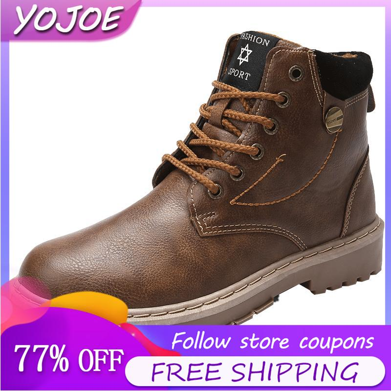 c6c36e6873f Martin Boots For Men Fashion Casual High Shoes Outdoor Anti-collision Ankle  Boots Waterproof Leather Work Boots