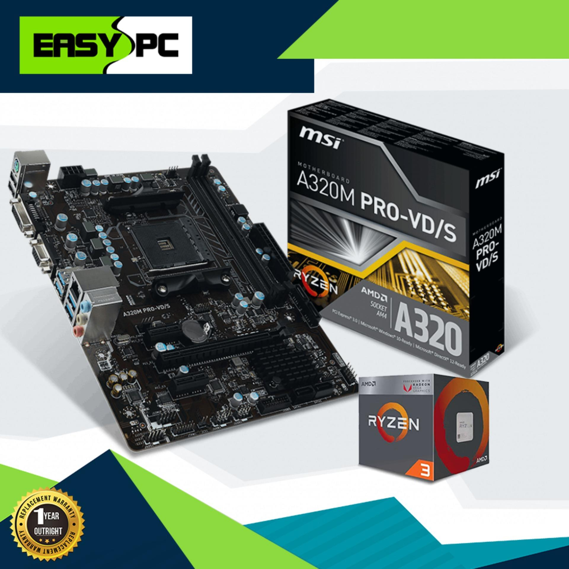 Gaming Desktop Processor and Motherboard Bundle Promo, AMD Processor Ryzen  3 2200G Socket AM4 3 5ghz, Msi A320M Pro-VD/S Motherboard Socket Am4 Pcie