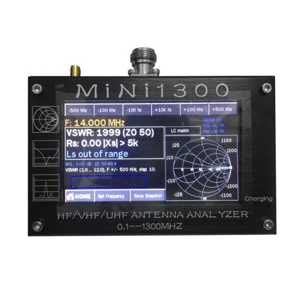 Mini1300 4.3 Inch Digital Display Touching Screen TFT LCD 0.1-1300MHz HF VHF UHF ANT SWR Antenna Analyzer Meter
