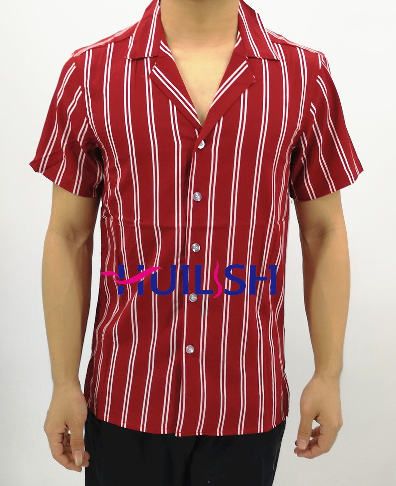 338e77b84 Huilishi New striped shirt men's short sleeve casual Korean shirt For men's
