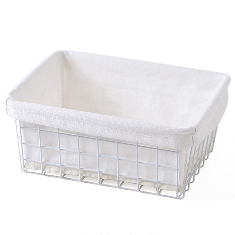 Tiết Kiệm Cực Đã Khi Mua Household Storage Basket Iron Art Japanese Style Organizer With Cloth Bag For Debris Kitchen Sundries Food