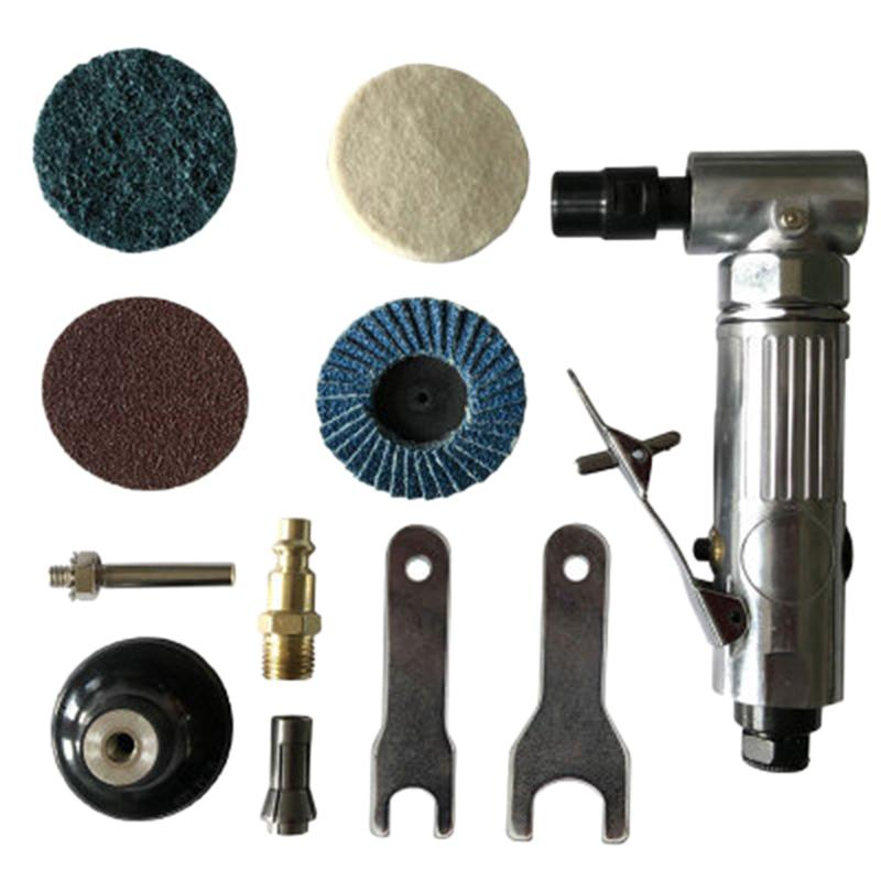 1/4 inch Air Angle Die Grinder 90 Degree Pneumatic Grinding Machine Cut Off Polisher Mill Engraving Tools Set With Spanner Wrench