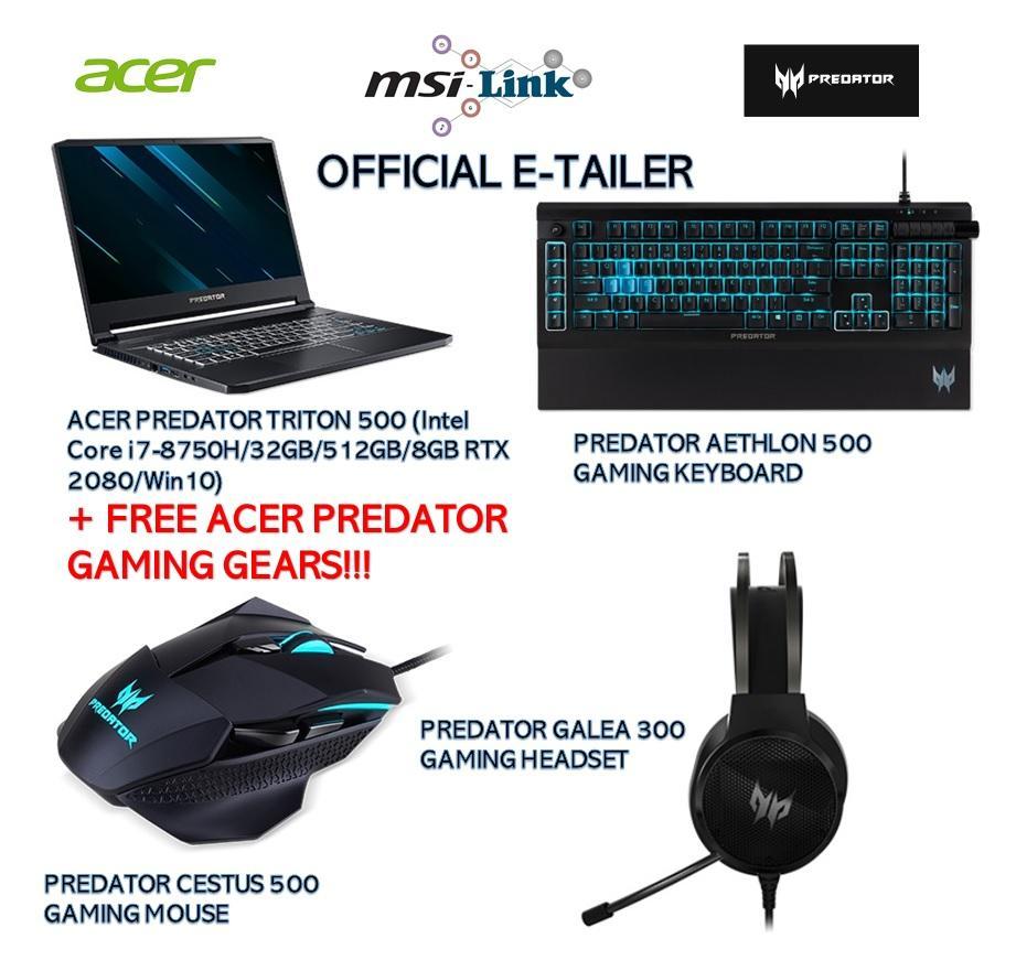 Acer Predator Triton 500 PT515-51-72EL 15 6-in FHD, IPS, 144Hz Intel Core  i7-8750H/32GB DDR4 SDRAM/512GB SSD/8GB RTX 2080/Win10 FREE Predator Cestus