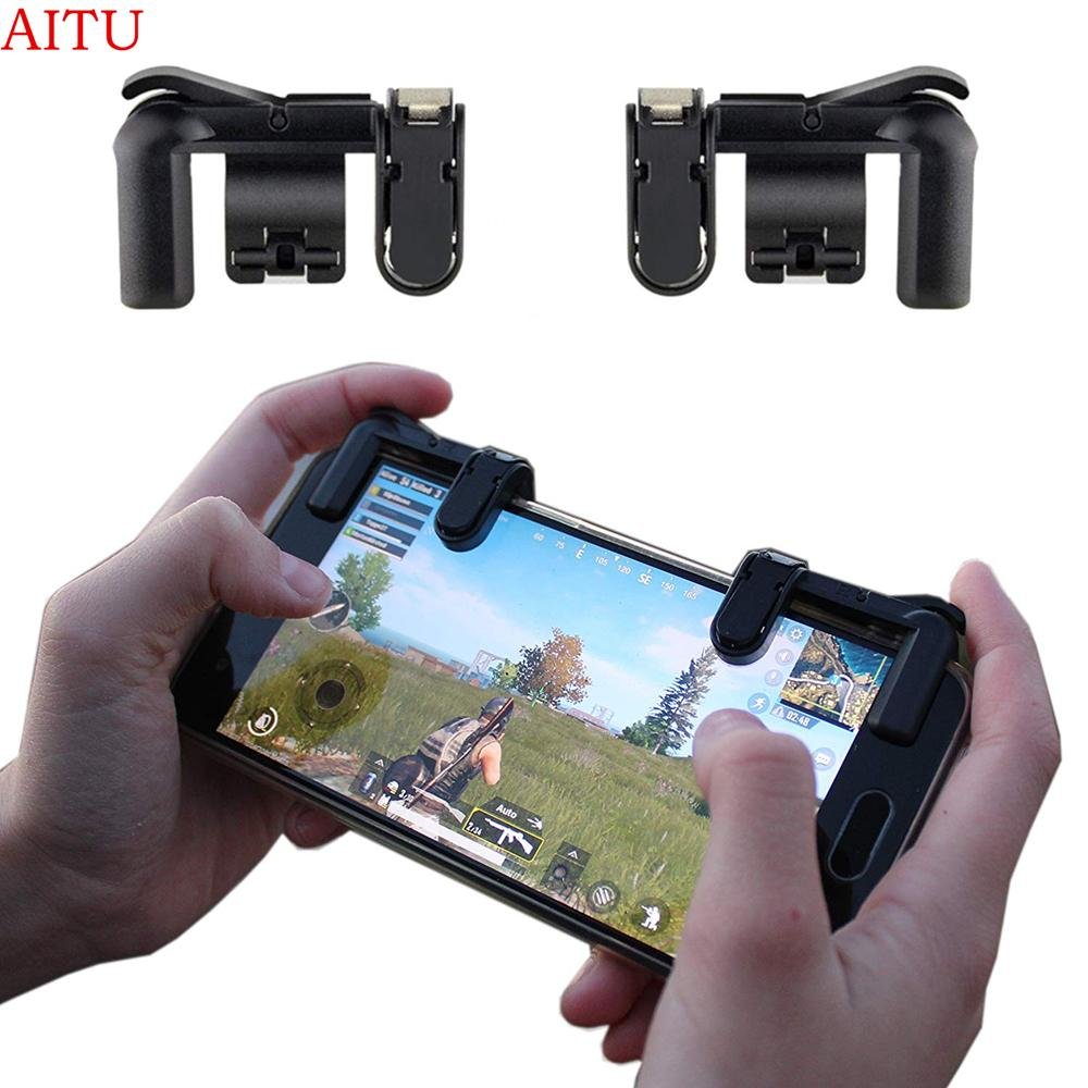 K01 Mobile Game Controller, Sensitive Shoot And Aim Buttons L1r1 Best For Pubg, Knives Out, Rules Of Survival, Critical Ops, Fortnite, 1 Pair Black Controller For Android/ios By Aitu Franchise Store.