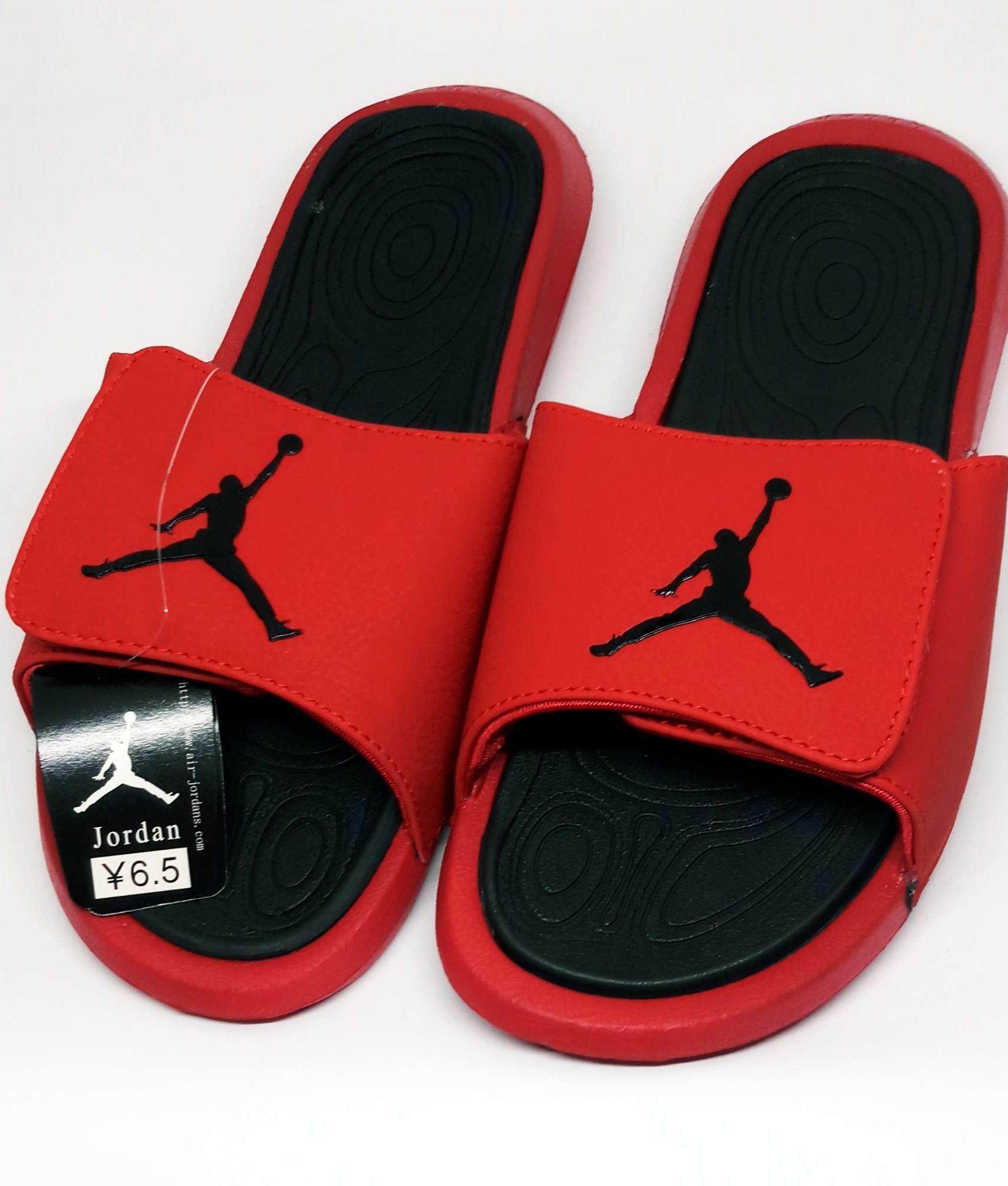 competitive price eb731 c394e Jordan Hydro Red Black Slippers