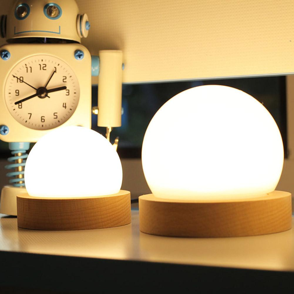 BH LED 3 Colors Dimmable Round Ball Shape Table Lamp with Wooden Base USB 5V