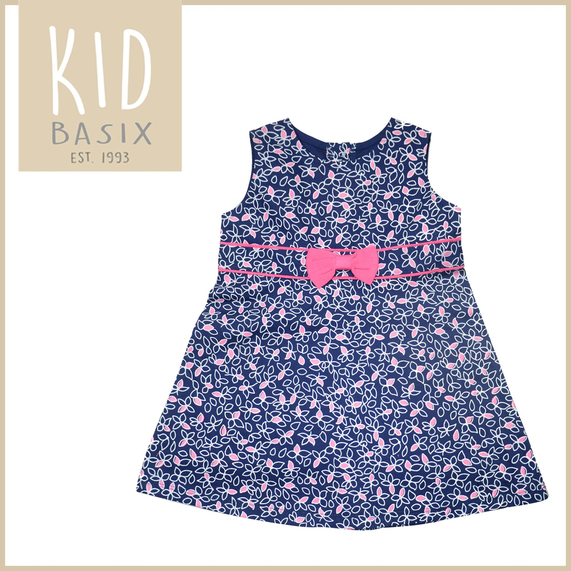 c33df7ff9640 Kid Basix Kids Dress for Girls White and Pink printed Petals with Pink  Ribbon (Code
