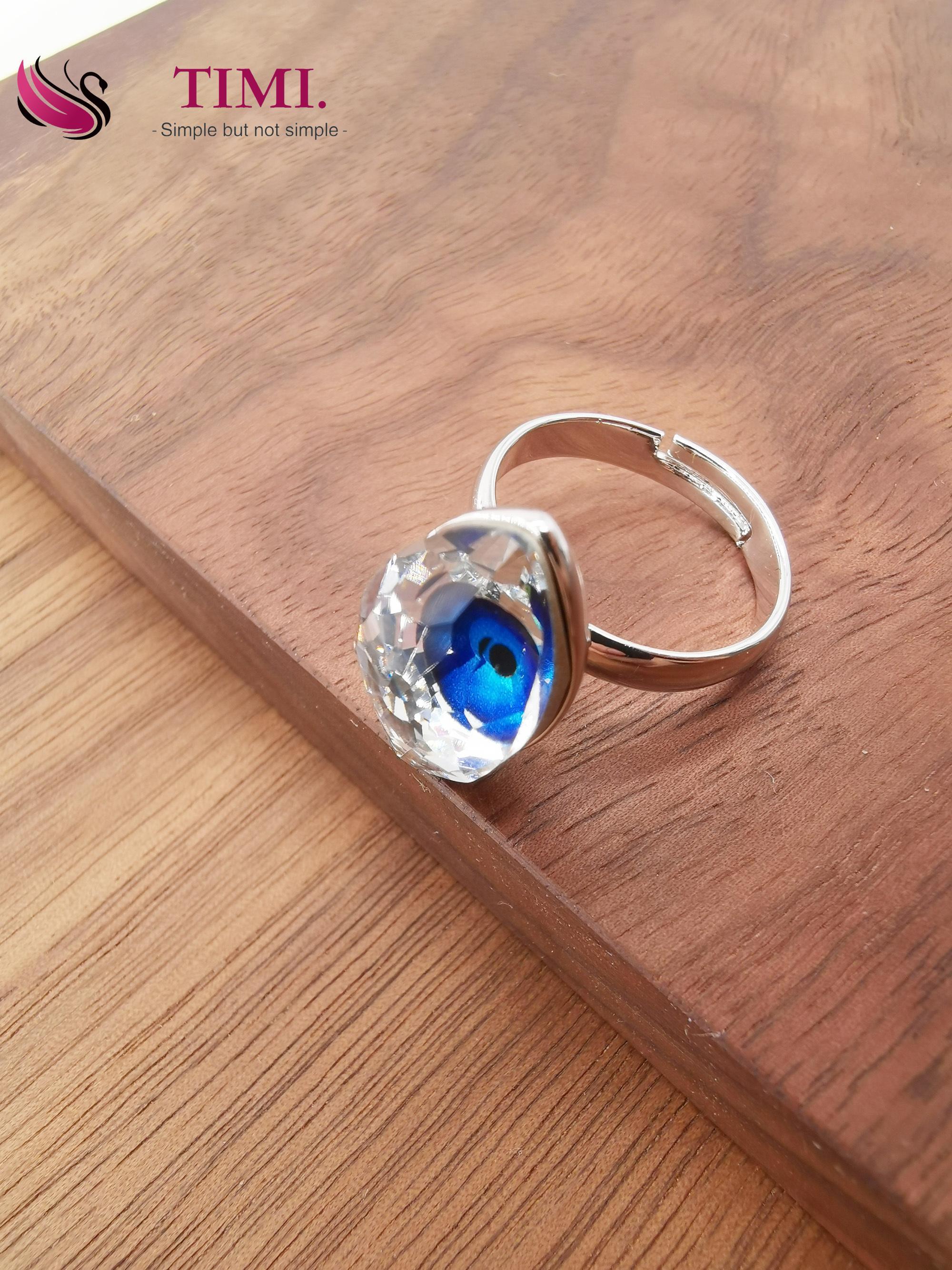 268ee9b1d8 Timi jewelry set Swarovski element crystal bracelet blue demon eye ring  lady necklace