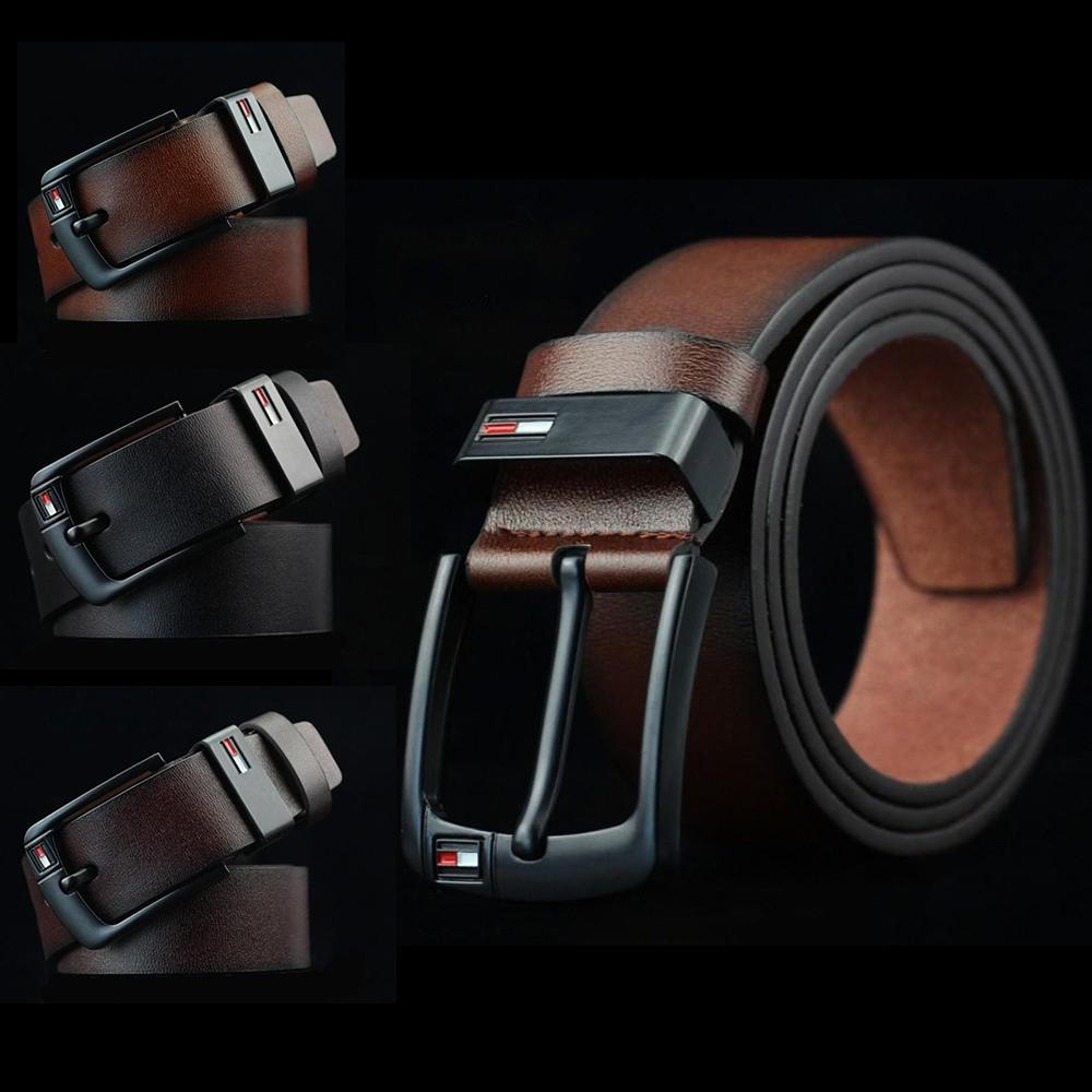 Belt For Men And Women Top Leather Brand Designer Casual Men Belts Black Stitches Luxury Male Belt With Golden Pin Buckle 125cm Men's Belts