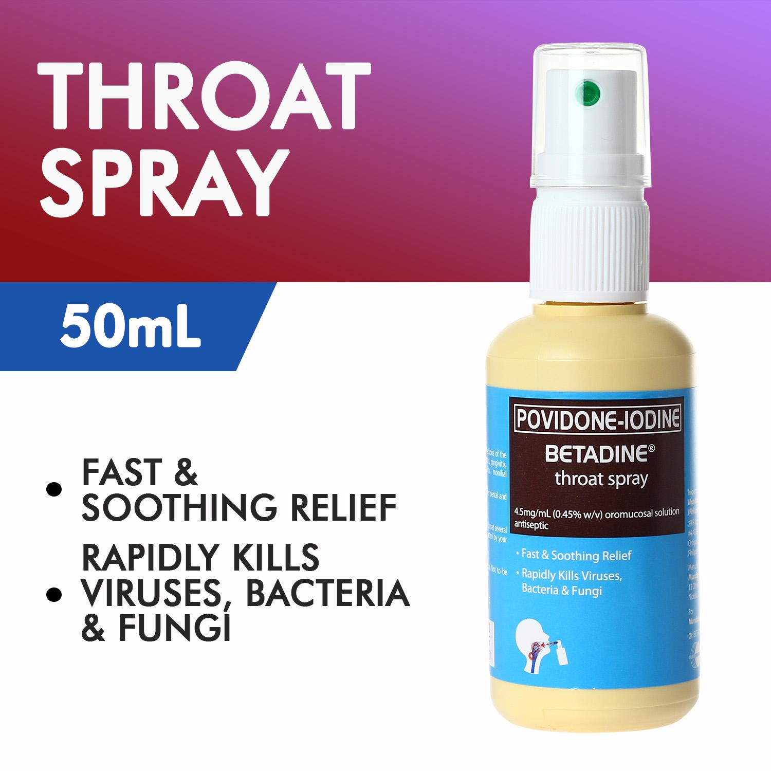Povidone-Iodine (BETADINE®) Throat Spray 50mL