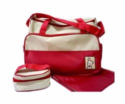 Diaper Bag with Changing Pad and Pouch with Adjustable Strap (Red)