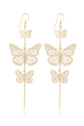 Double Bow Butterfly Long Drop Tassels Earring (Gold)