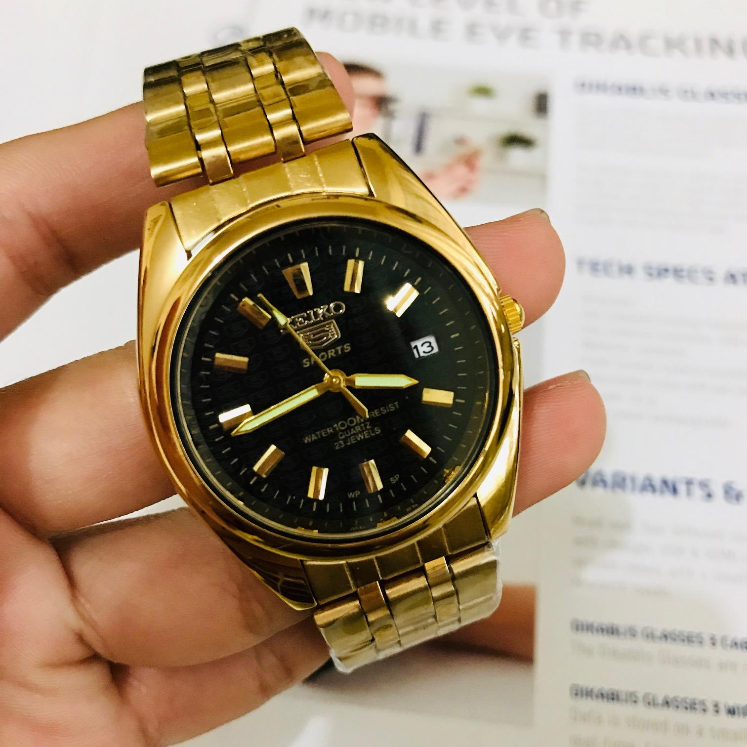 AUTOMATIC SEIKO 5 Water Resist MENS GOLD stainless steel watch