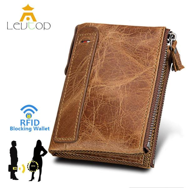 LEVTOP Men Wallet Zipper Wallet PU Leather RFID Blocking Coin Card Holder Bifold Purse Pocket Christmas Gift