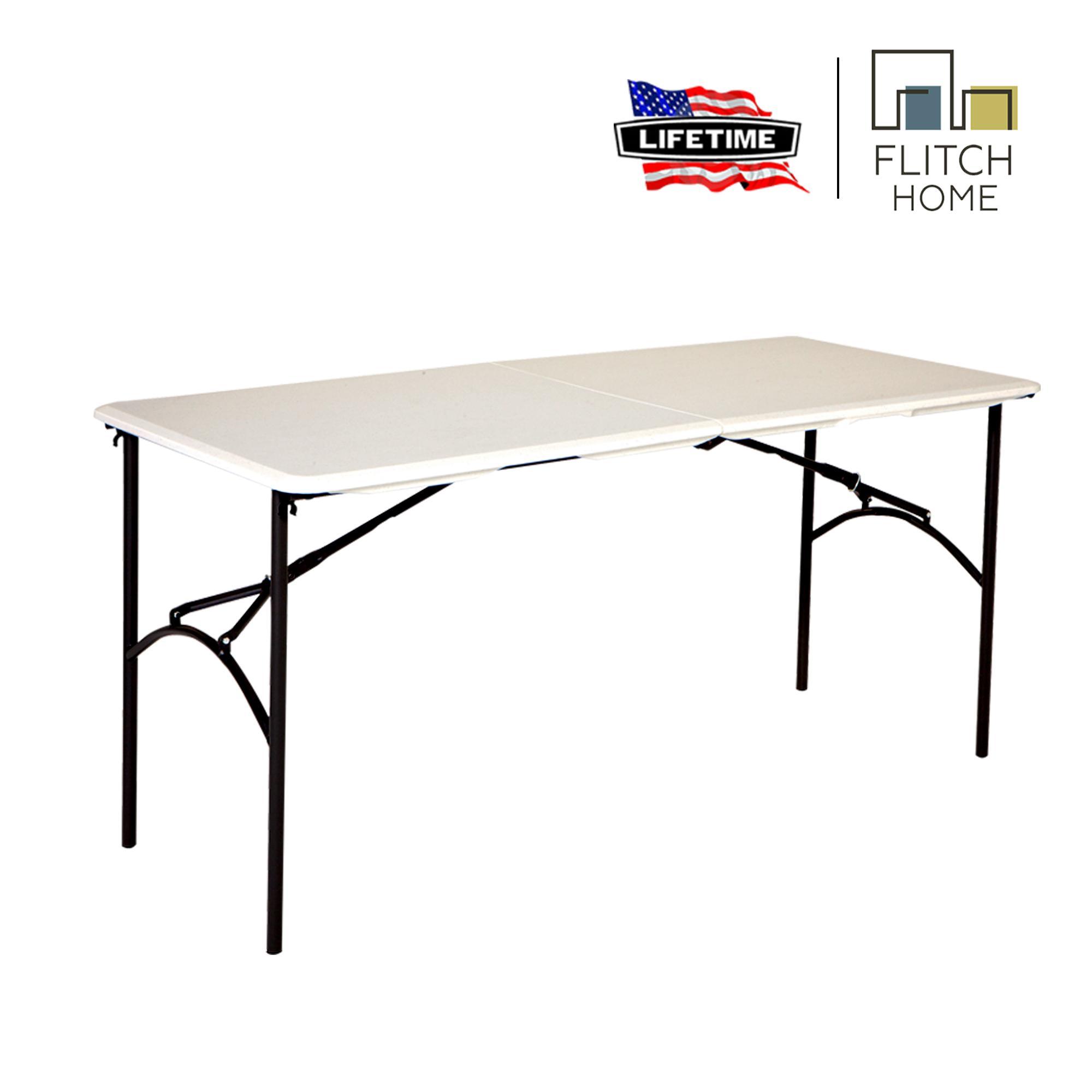 Tremendous Lifetime 5 Ft Fold In Half Table White Download Free Architecture Designs Rallybritishbridgeorg