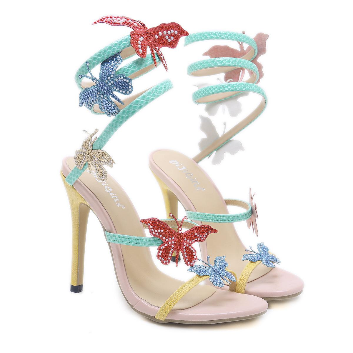 f98917c2d Special offer new high-heeled shoes stiletto women s sandals snake-shaped  winding butterfly high
