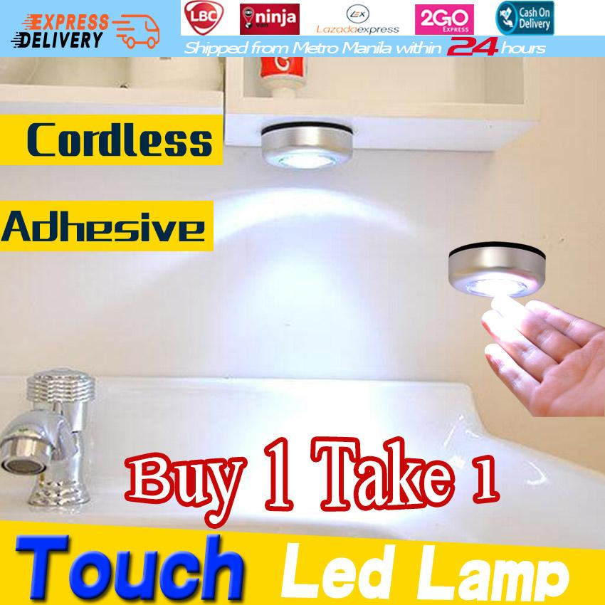 【buy 1 Get 1】mini Round 3 Led Push Tap Stick Convenient Touch Practical Cabinet Home Night Light Lamp Cordless Bulb Wardrobe Lamp Battery Powered Round Veilleuse Cordless Cars Adhesive Touch Led Lamp Stick Touch Lamp By Soya.