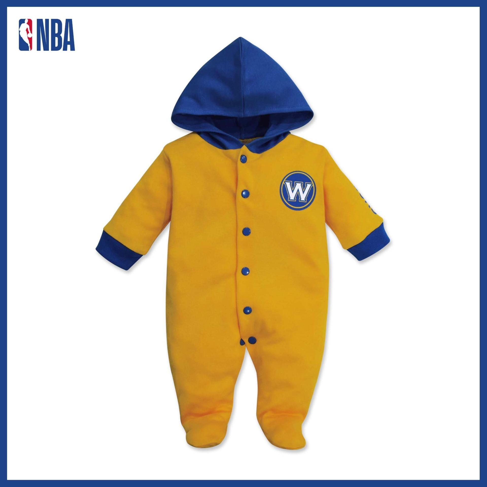 Nba Baby - Long Sleeve Sleeper With Hood (baby Baller - Warriors) By Cotton Stuff.