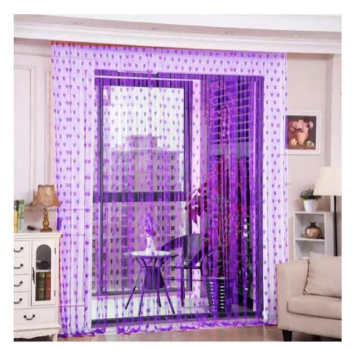 Romantic Heart Line Shaped Door Window Room Tassel Curtains (Light Violet) image