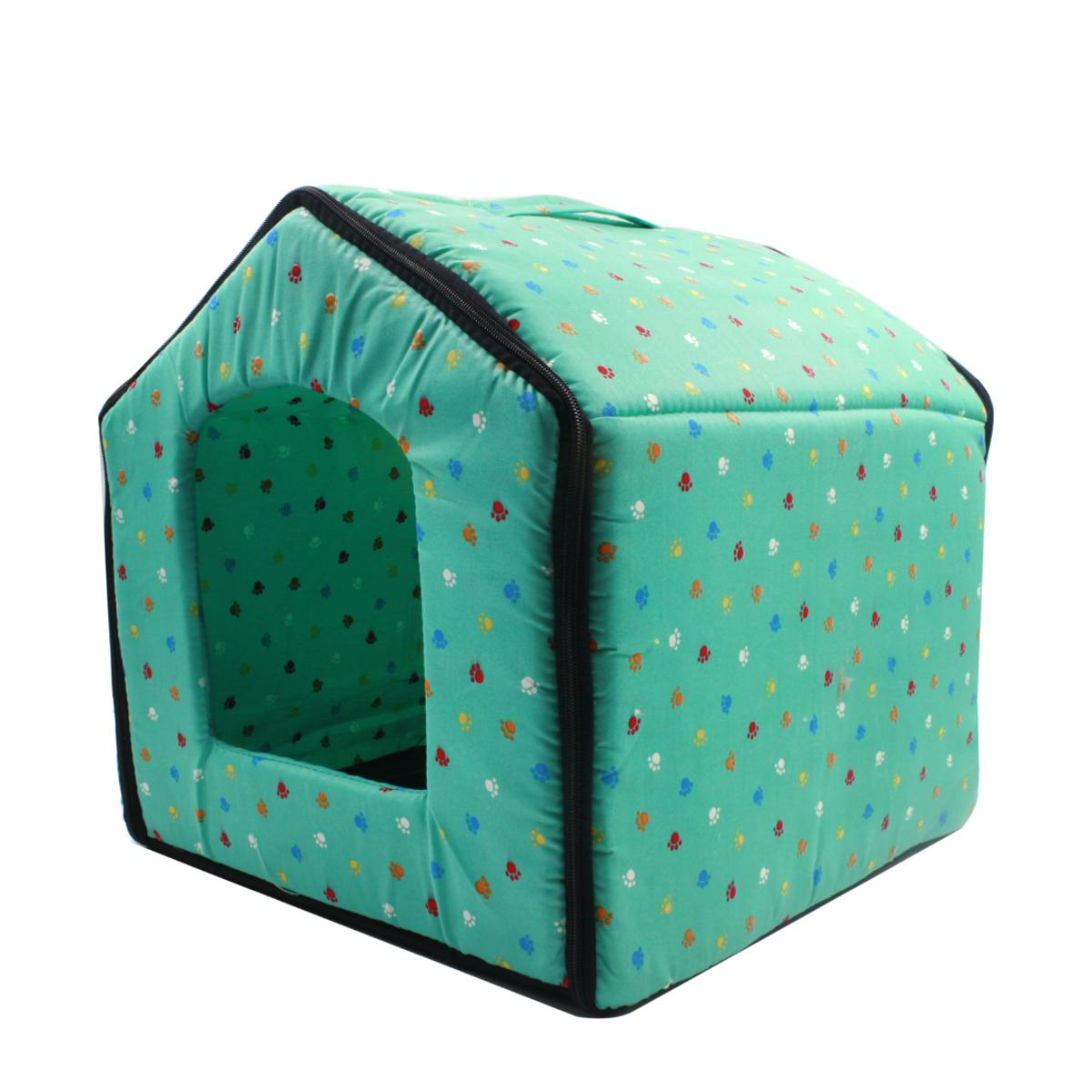Digisoria Paws Pattern Pet Dog House (green) By Digisoria.