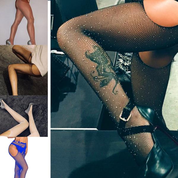 Giá bán 11 màu sắc Phụ nữ Tất sexy Vớ bít tất pha lê Rhinestone Fishnet Lưới thời trang Quần tất lưới