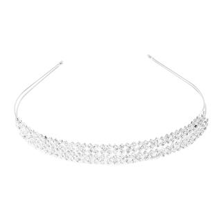 Silver Plated Rhinestone 2-row Cross Hairband Wedding Hair Accessories Hair Band thumbnail
