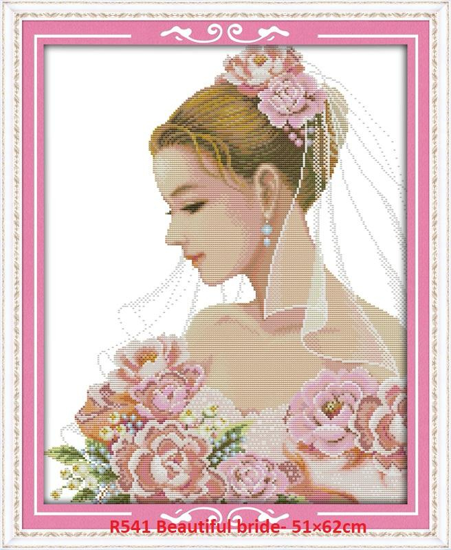 Beautiful Bride Stamped/printed Cross Stitch Complete Set By Stamped To Stitch.