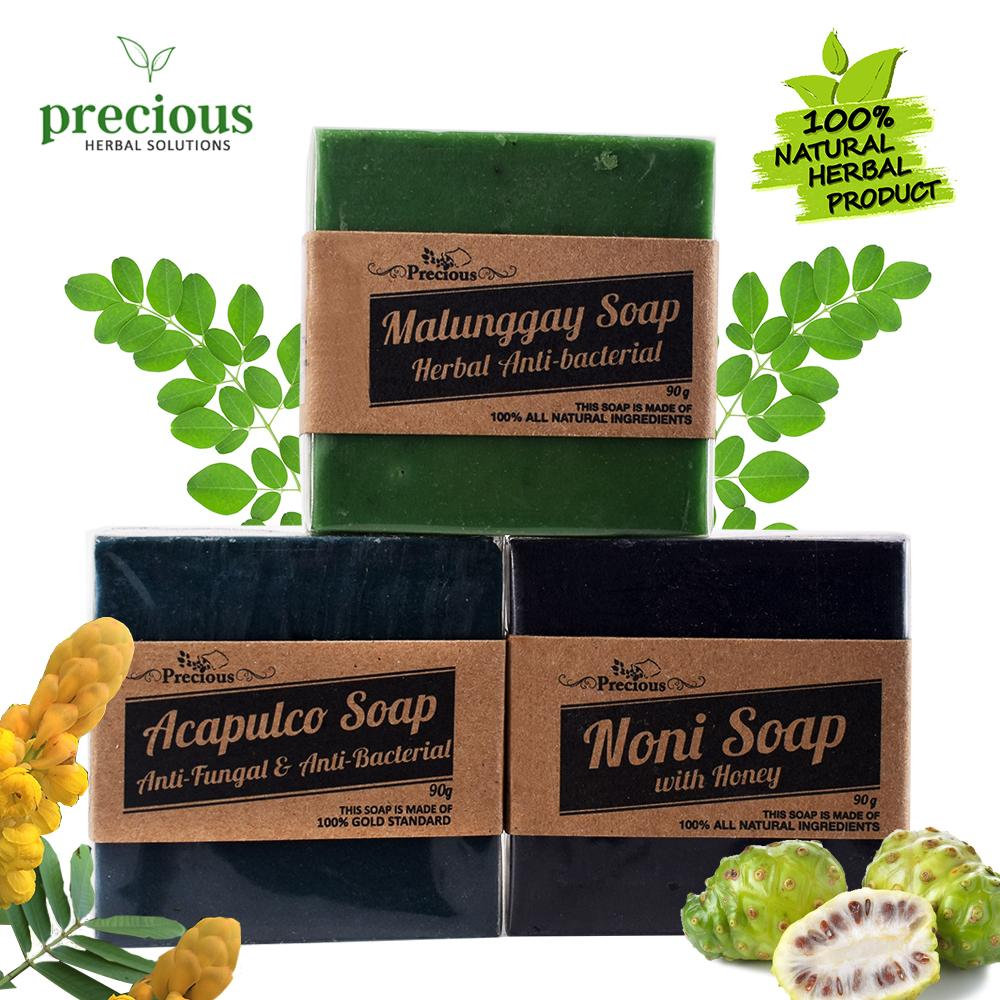 Precious Herbal Natural Trio Pack ( Moringga Soap, Acapulco Soap and Noni  Soap ) 90grams each