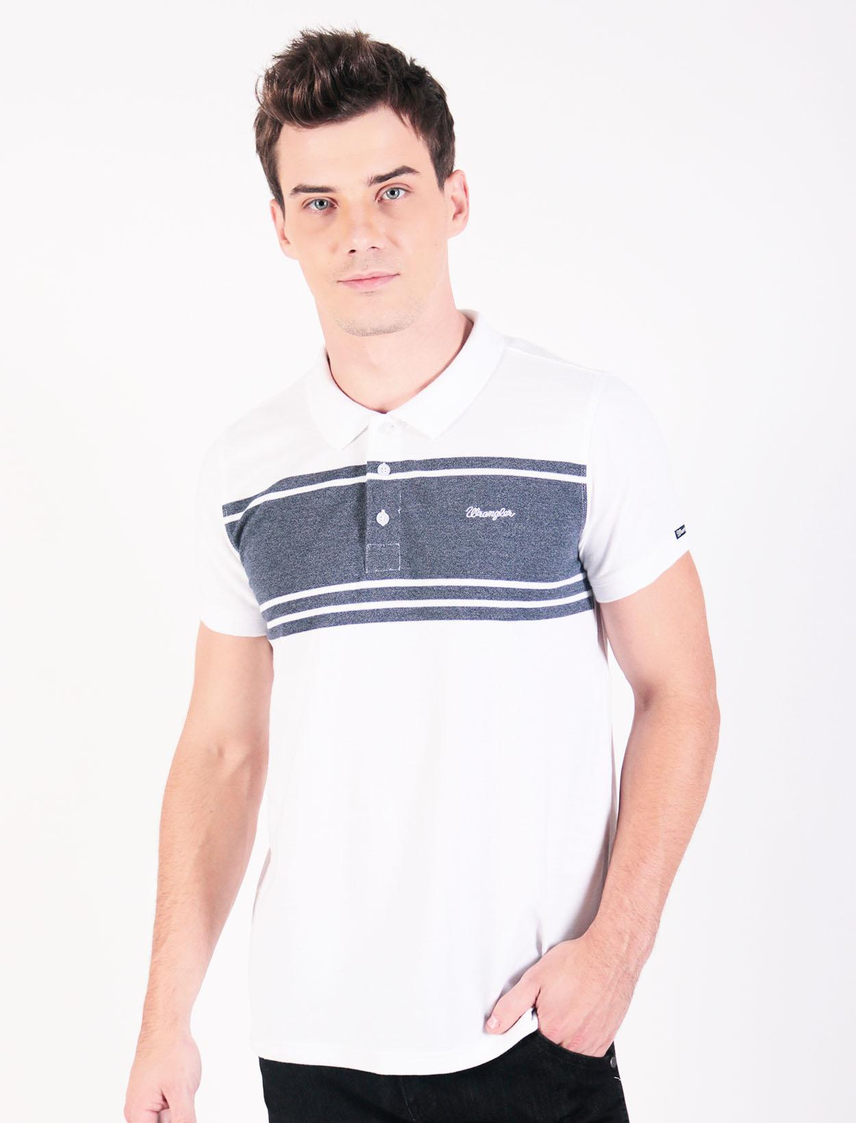 907a2f0b Wrangler Cotton Pique Polo Shirt with Stripe Chest Print and Embroidery in  White