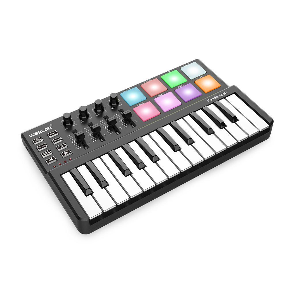 【Free Shipping】WORLDE Panda MINI 25-Key Ultra-Portable USB MIDI Keyboard  Controller 8 Colorful Backlit Trigger Pads