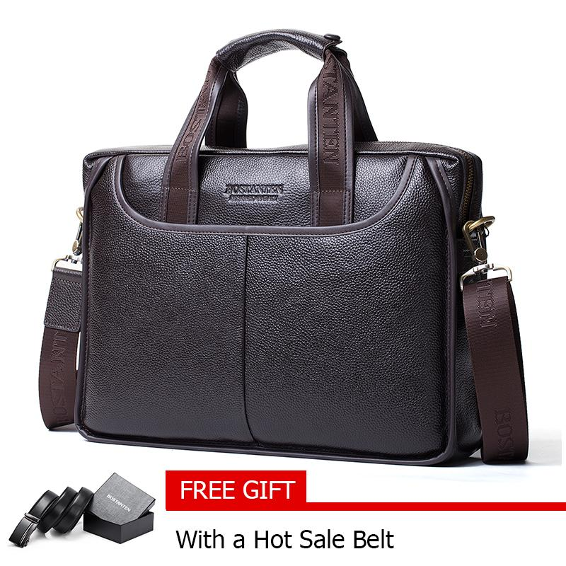 d52aa3bb43f0 Bostanten Men s Genuine Cowhide leather Briefcase Laptop Bag Messenger  Business Bags