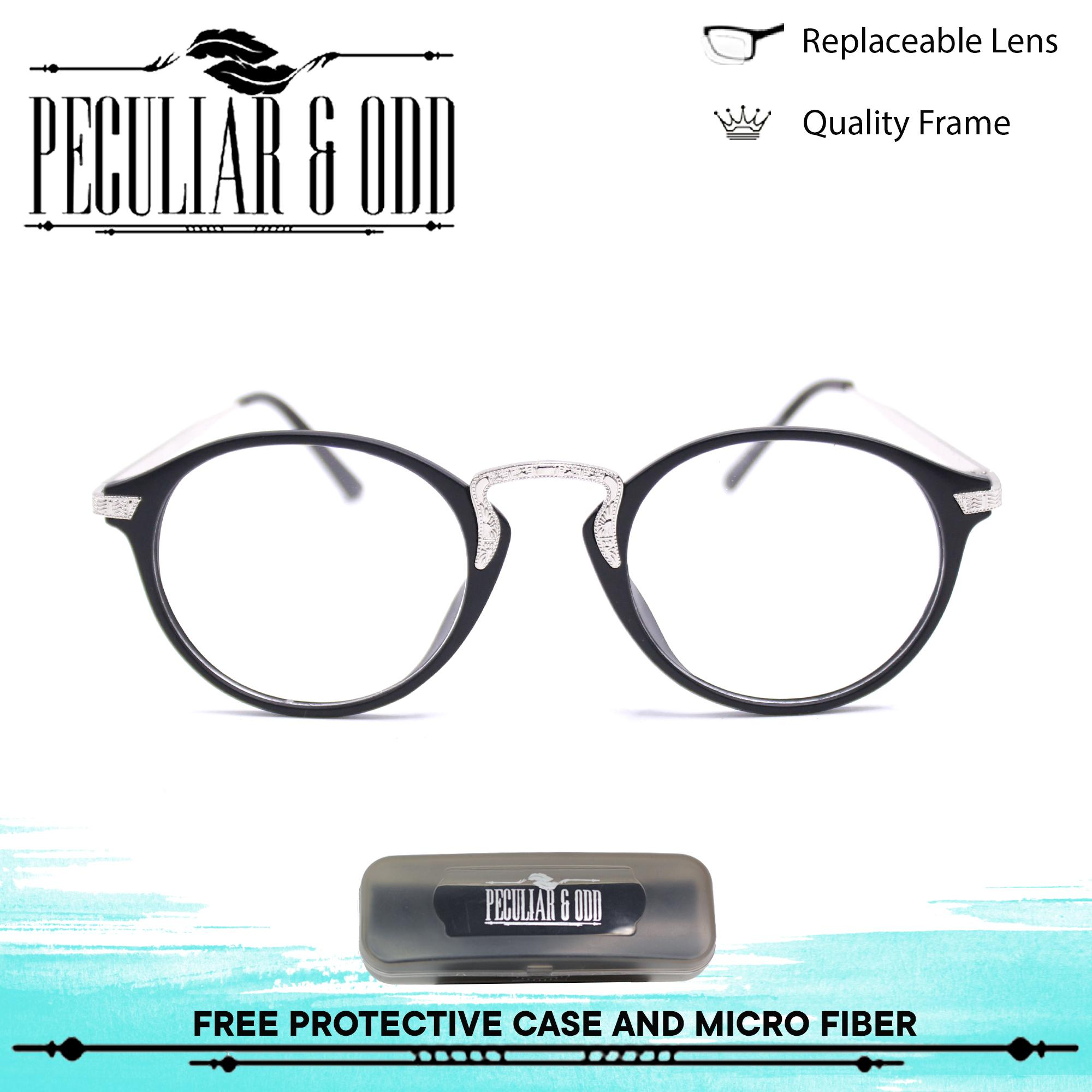 dfdb982a6442 Peculiar Premium Round Optical Eyeglass 3018 BlackSilver in Aircraft  Aluminum-magnesium Alloy with Replaceable Lens Unisex