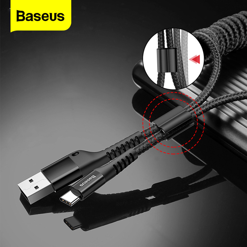 Baseus Retractable Spring Usb Type C Cable For Samsung S10 S9 S8 Xiaomi Mi 9 8 Usb-C Fast Car Charging Charger Usbc Type C Cable.